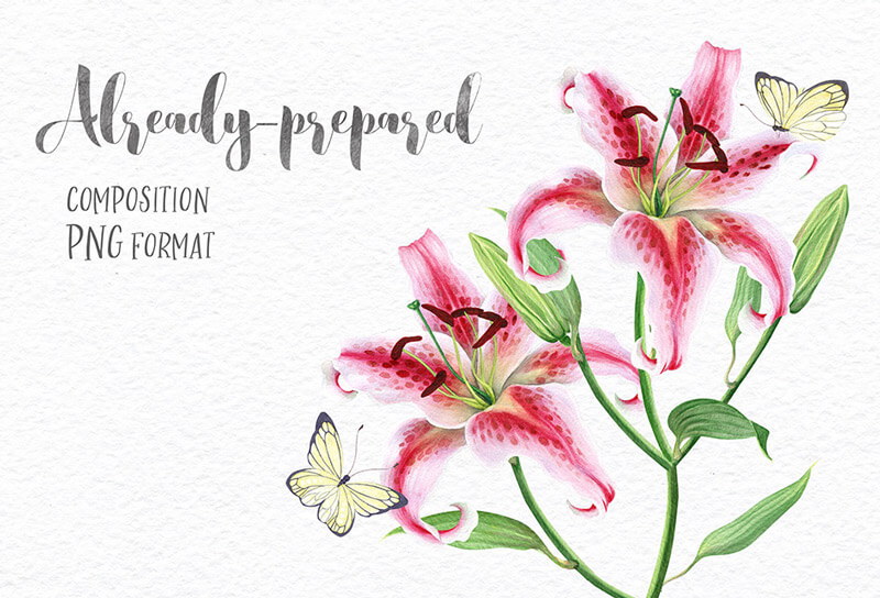 FREE-Delicate-Watercolor-Lilies-Preview-02