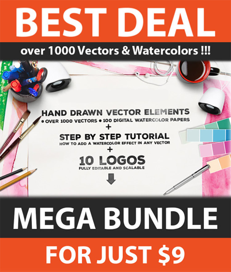 1000 Vectors & Watercolors Bundle Cover