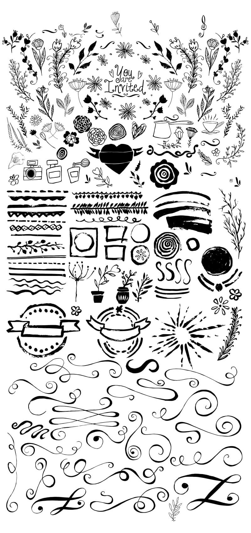 1000 Vectors and Watercolors Bundle Preview 03