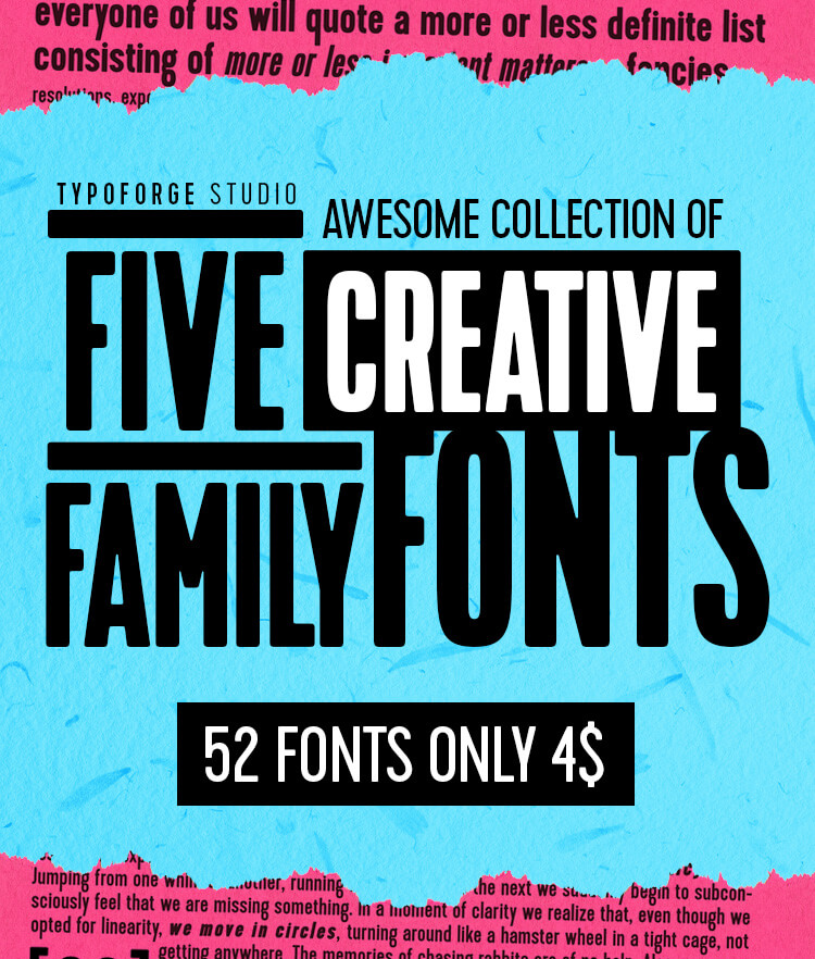 Awesome Collection of 5 Creative Family Fonts Cover