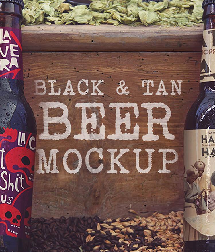 FREE Black and Tan Beer Mockup Cover