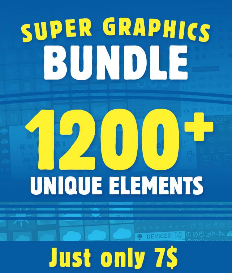Super Graphics Bundle 1200 Unique Elements
