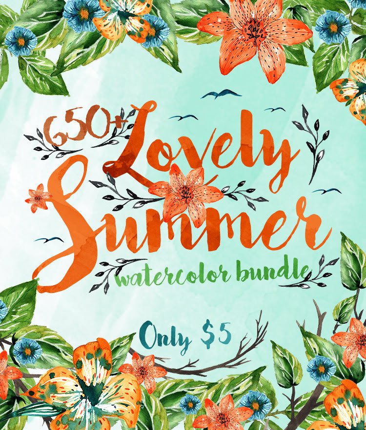 650+ Lovely Summer Watercolor Bundle