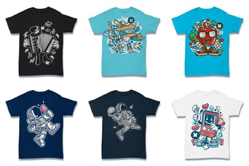Cartoon Vector Part 2 T shirt Designs Preview 01