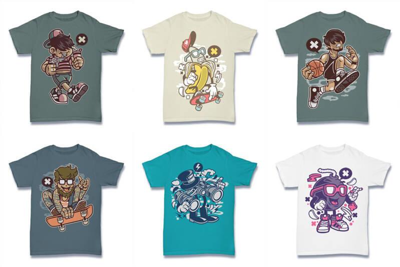 Cartoon Vector Part 2 T shirt Designs Preview 02