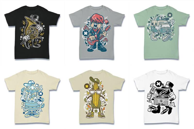 Cartoon Vector Part 2 T shirt Designs Preview 03