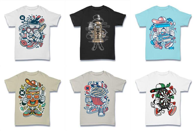 Cartoon Vector Part 2 T shirt Designs Preview 04