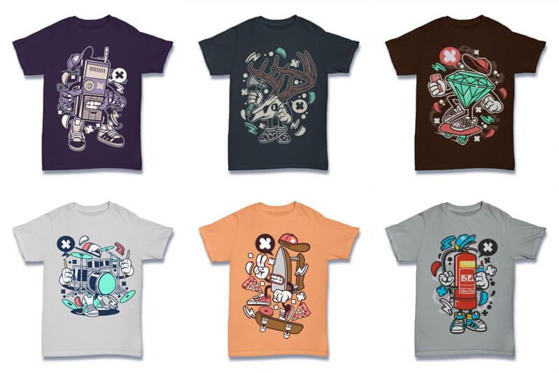 Cartoon Vector Part 2 T shirt Designs Preview 05