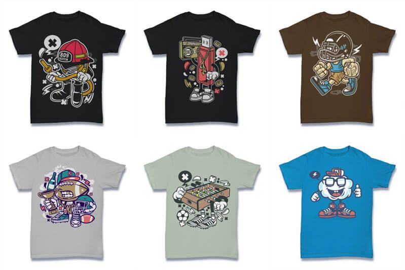 Cartoon Vector Part 2 T shirt Designs Preview 06