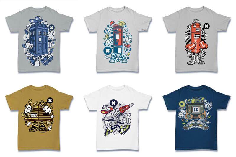 Cartoon Vector Part 2 T shirt Designs Preview 12