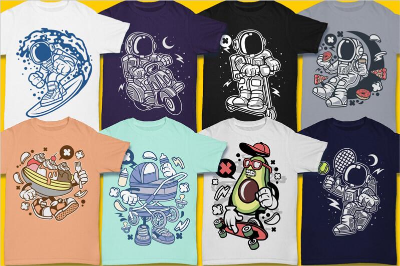 Cartoon Vector Part 3 T-shirt Designs Preview 02