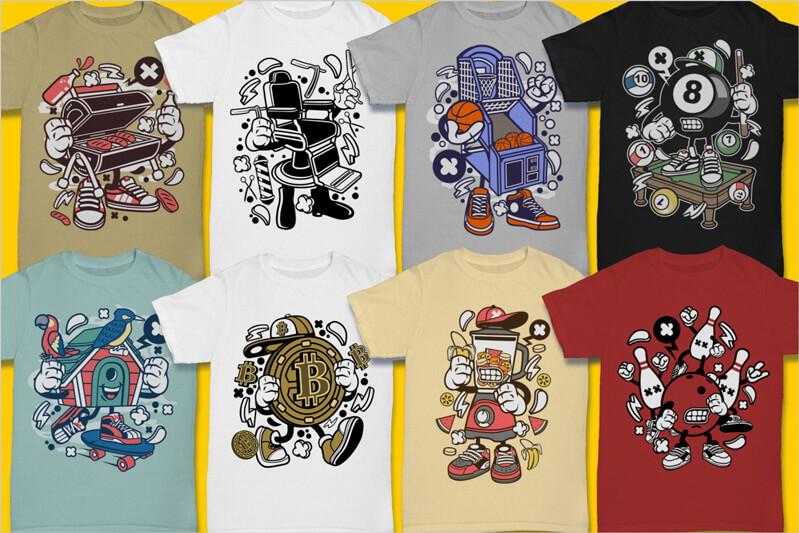 Cartoon Vector Part 3 T-shirt Designs Preview 03