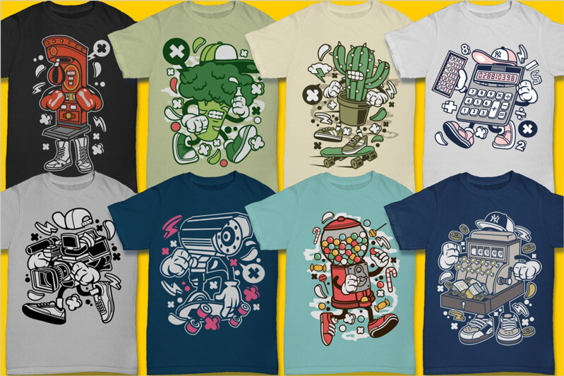 Cartoon Vector Part 3 T-shirt Designs Preview 04