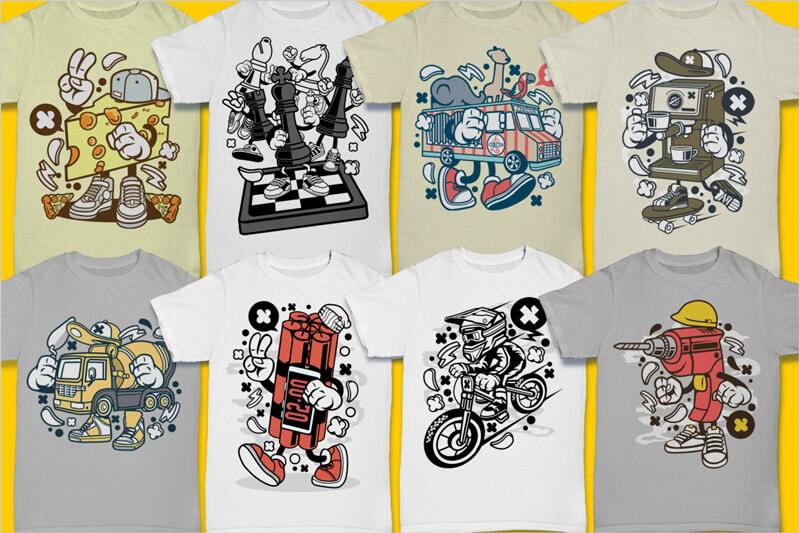 Cartoon Vector Part 3 T-shirt Designs Preview 05