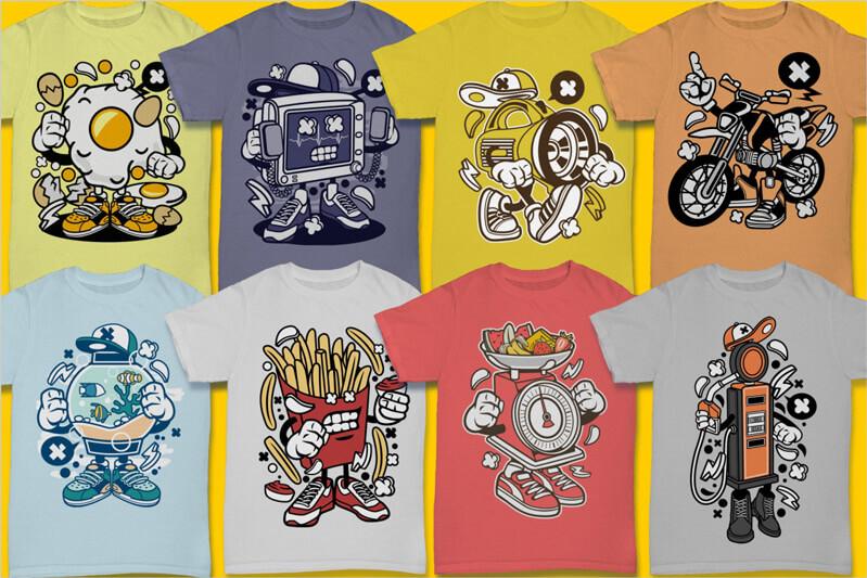 Cartoon Vector Part 3 T-shirt Designs Preview 06