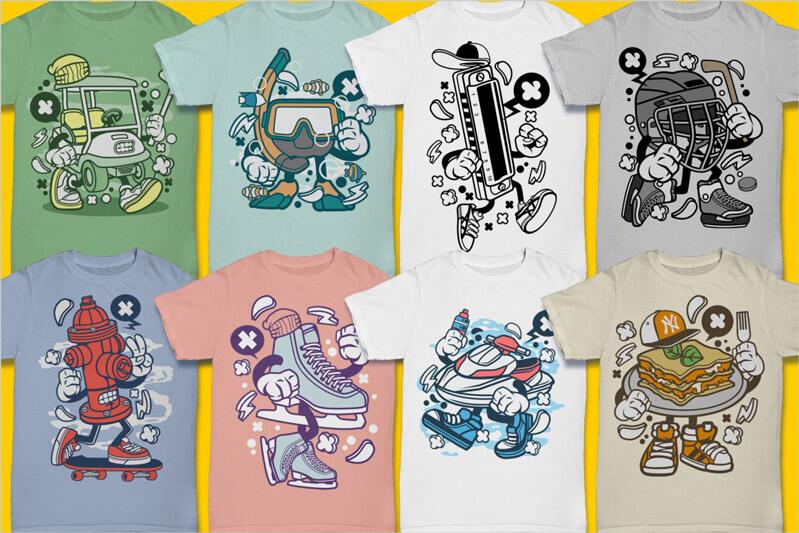 Cartoon Vector Part 3 T-shirt Designs Preview 07