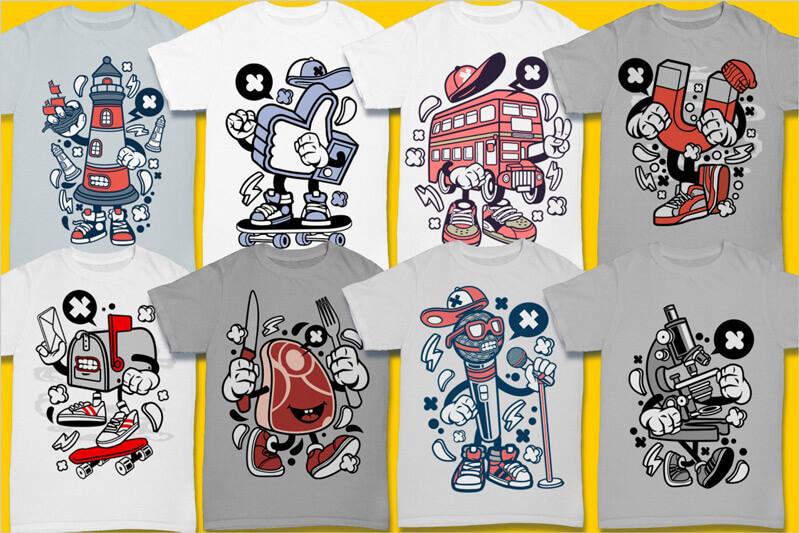 Cartoon Vector Part 3 T-shirt Designs Preview 08
