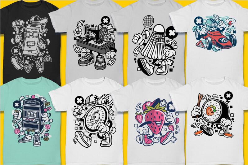Cartoon Vector Part 3 T-shirt Designs Preview 11