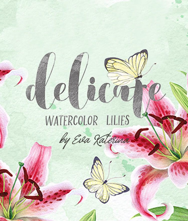 FREE Delicate Watercolor Lilies Cover