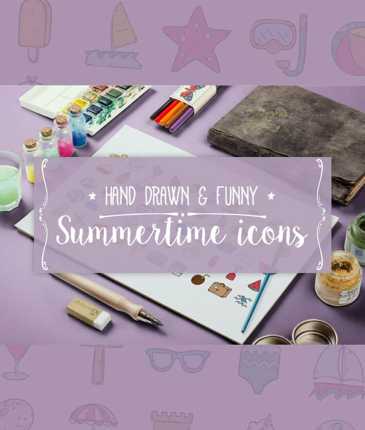 Free 100 Hand drawn summertime icons Cover