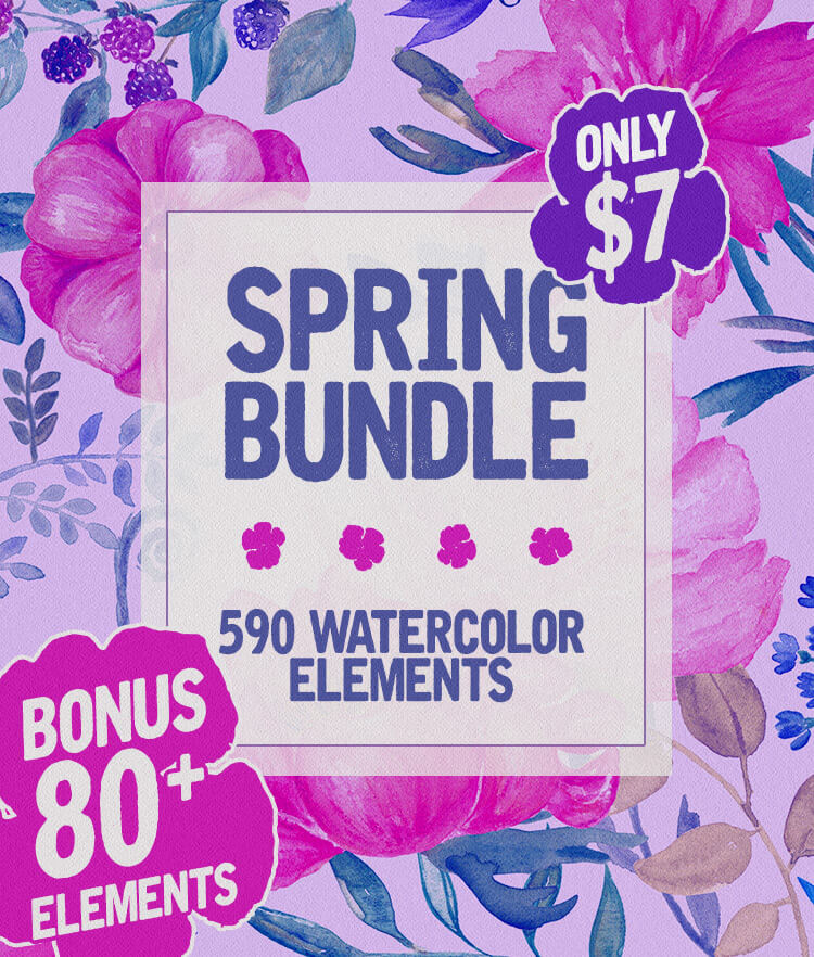 Spring Bundle 590 Watercolor-Elements Cover