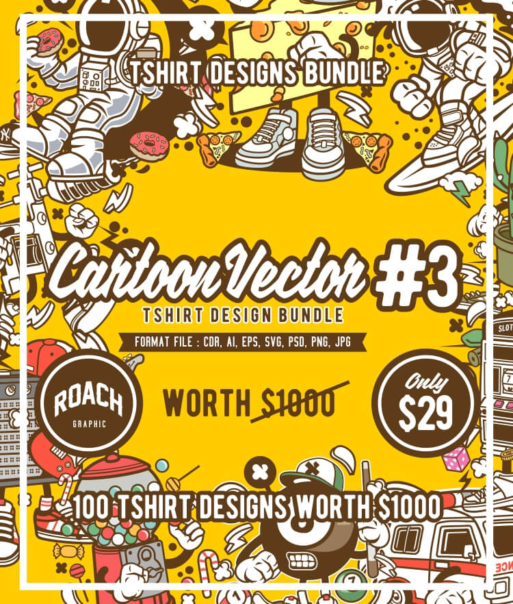 Cartoon Vector Part 3 T-shirt Designs Bundle Cover