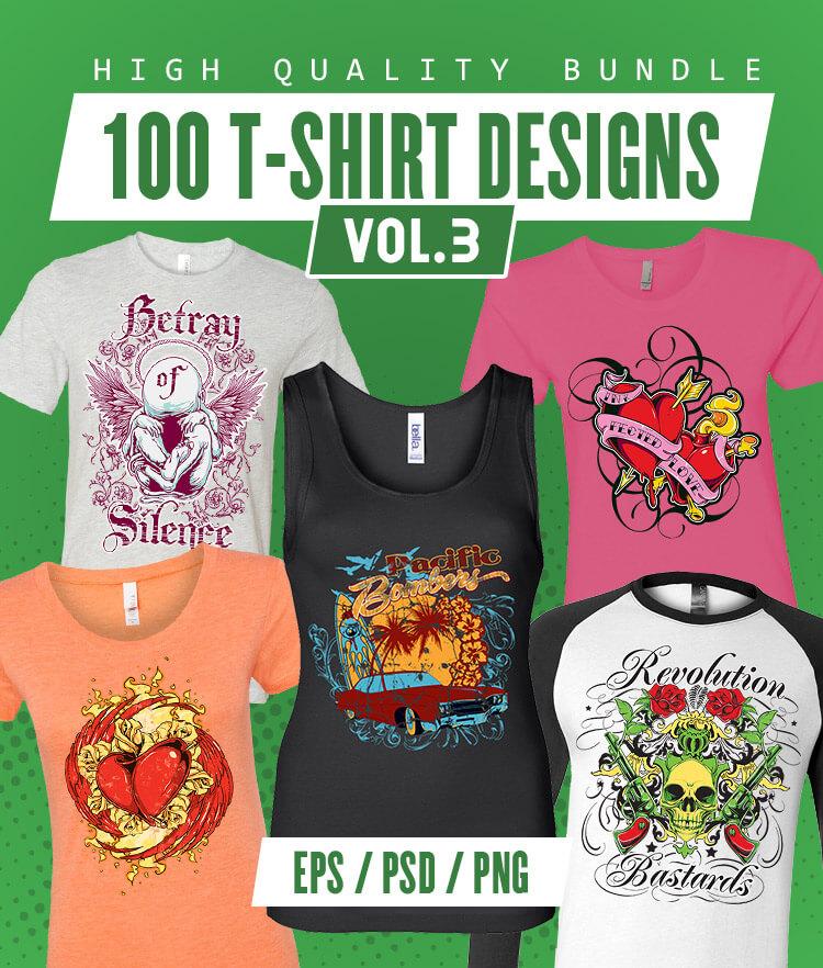 100 T-shirt Designs Vol 3 Cover