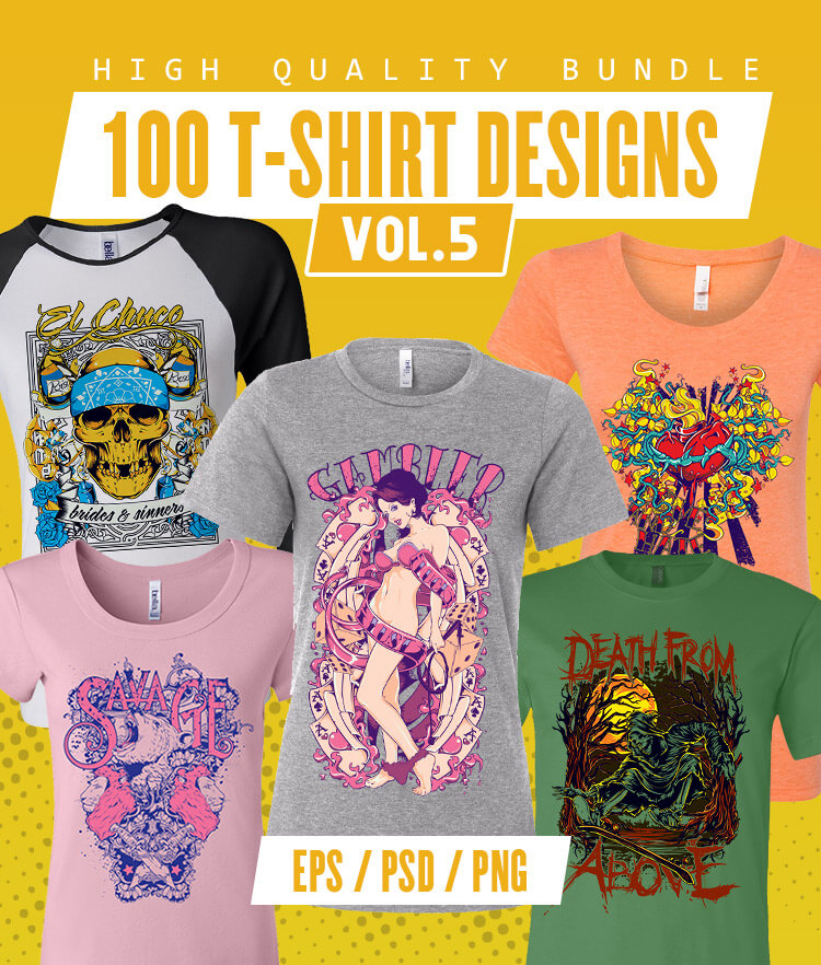 100 T-shirt Designs Vol 5 Cover 750x882px