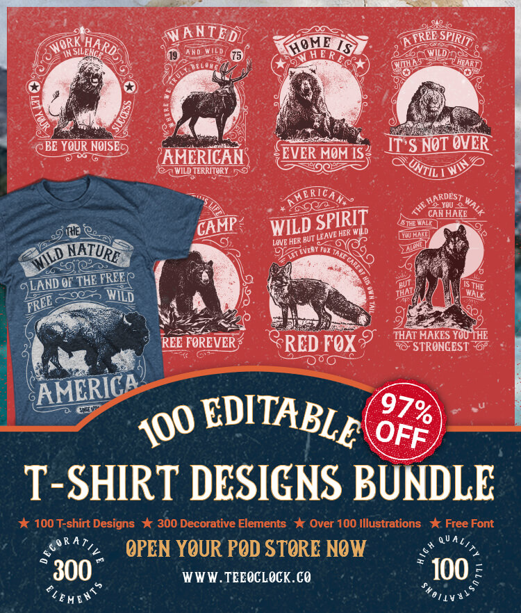 100 Editable T-shirt Designs Bundle Cover