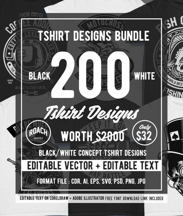 200 Tshirt Designs BW Bundle Cover