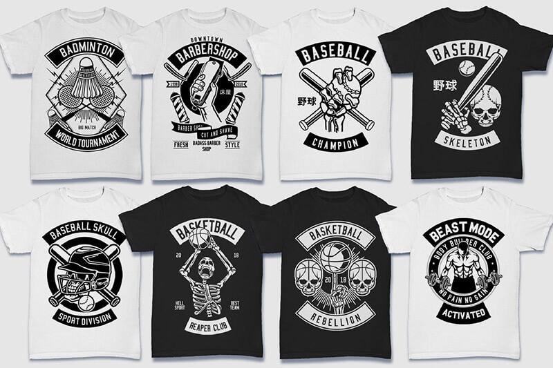 200 Tshirt Designs BW Bundle Preview 02