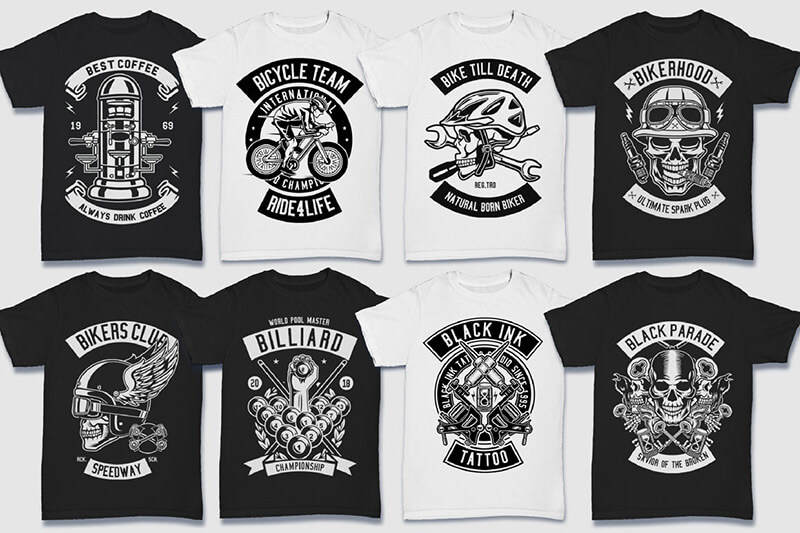 200 Tshirt Designs BW Bundle Preview 03