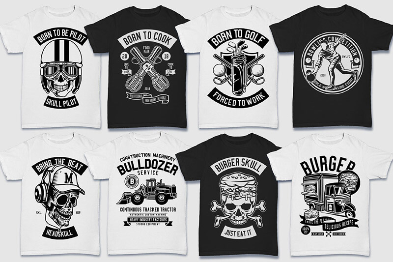 200 Tshirt Designs BW Bundle Preview 04