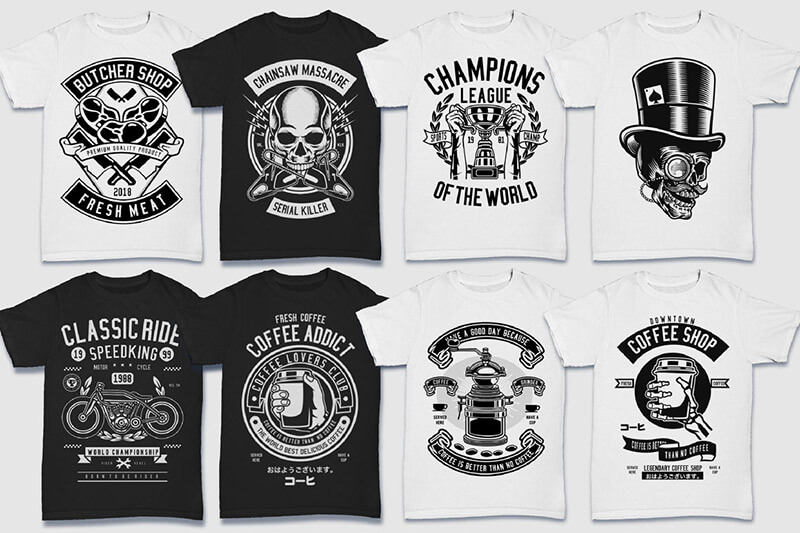 200 Tshirt Designs BW Bundle Preview 05
