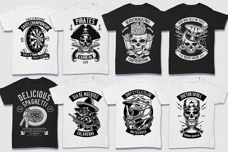 200 Tshirt Designs BW Bundle Preview 07