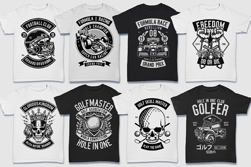 200 Tshirt Designs BW Bundle Preview 09