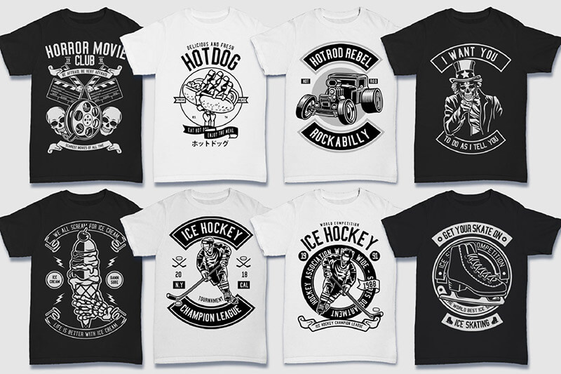 200 Tshirt Designs BW Bundle Preview 11