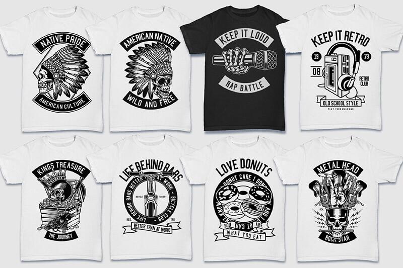 200 Tshirt Designs BW Bundle Preview 12