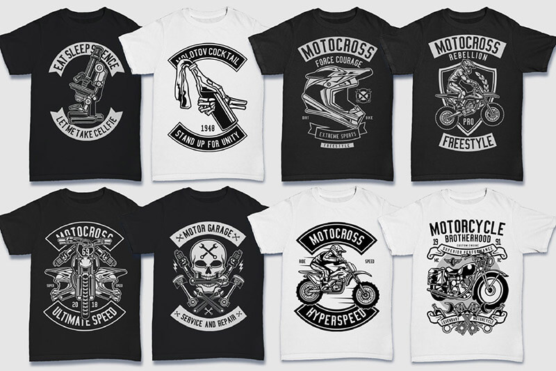 200 Tshirt Designs BW Bundle Preview 13