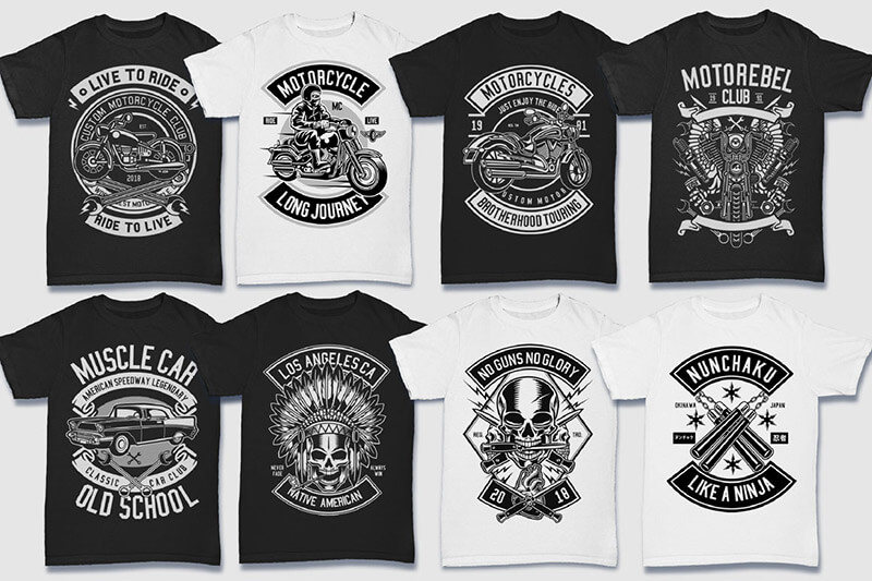 200 Tshirt Designs BW Bundle Preview 14