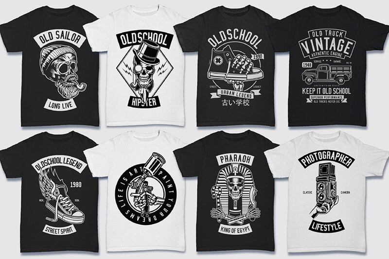 200 Tshirt Designs BW Bundle Preview 15