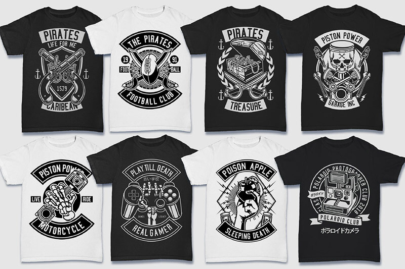 200 Tshirt Designs BW Bundle Preview 16