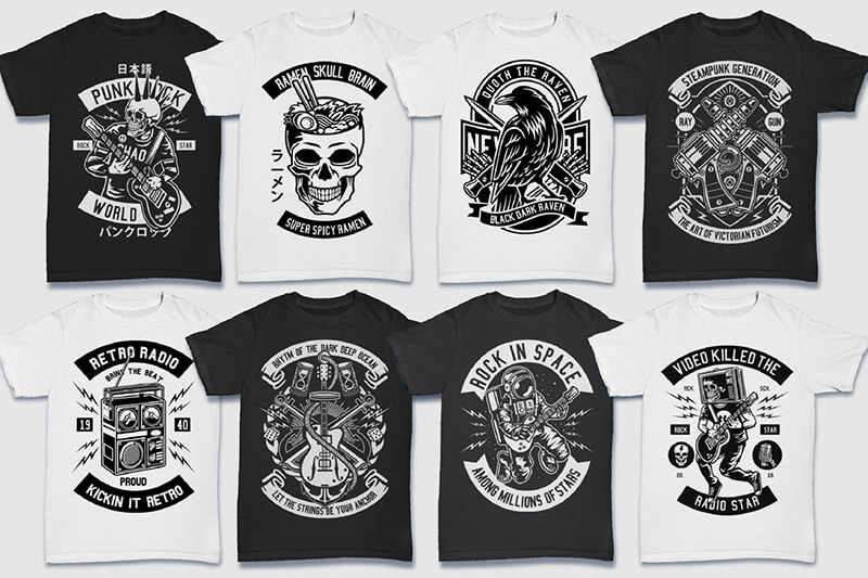 200 Tshirt Designs BW Bundle Preview 17
