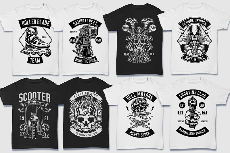 200 Tshirt Designs BW Bundle Preview 18