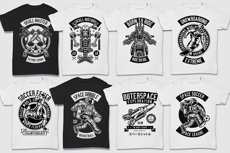 200 Tshirt Designs BW Bundle Preview 20