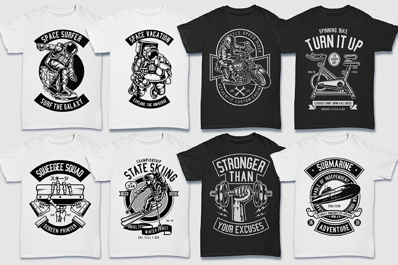 200 Tshirt Designs BW Bundle Preview 21