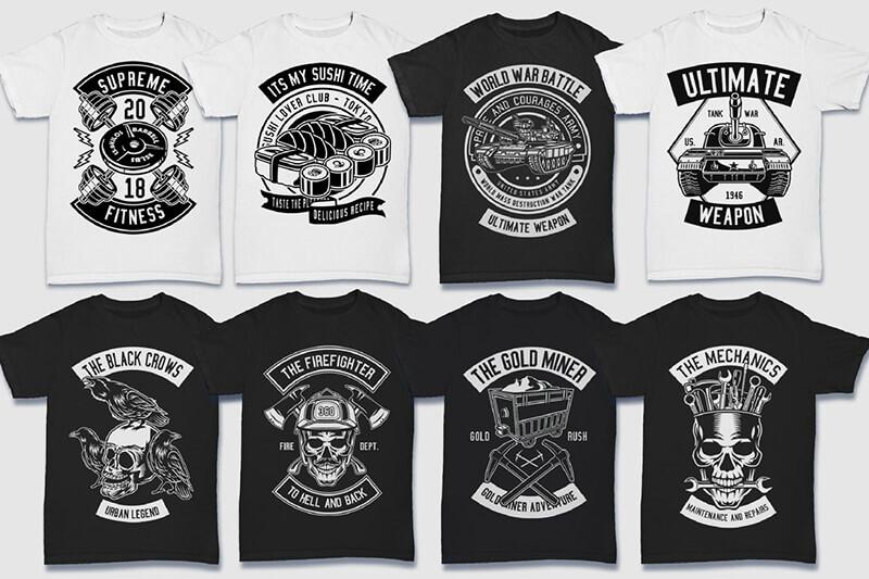 200 Tshirt Designs BW Bundle Preview 22