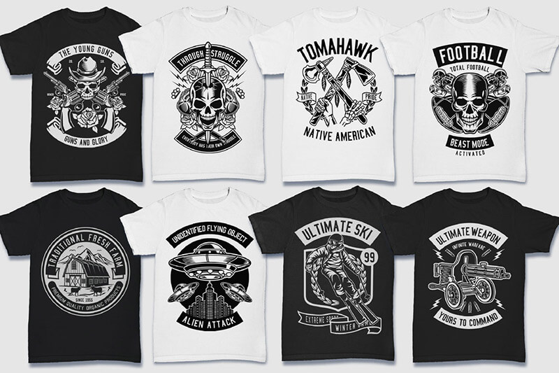 200 Tshirt Designs BW Bundle Preview 23