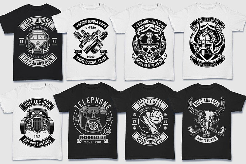 200 Tshirt Designs BW Bundle Preview 24