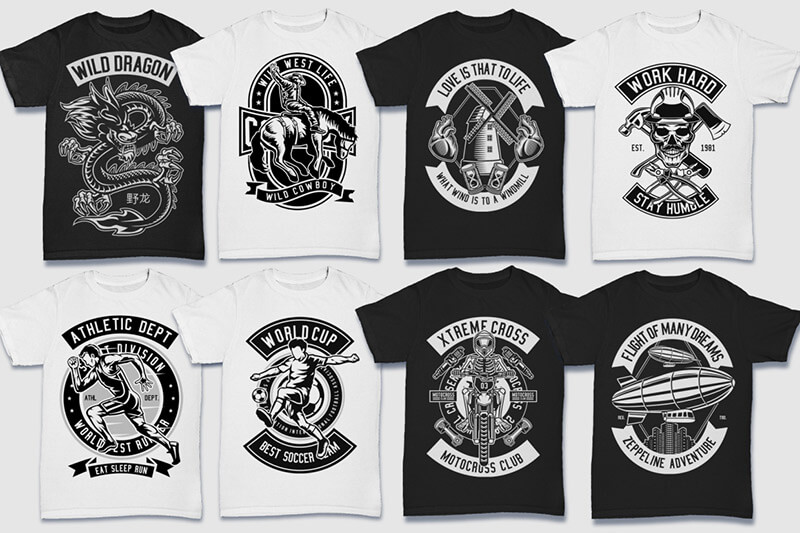 200 Tshirt Designs BW Bundle Preview 25